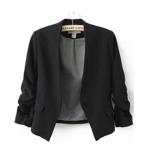 H&M Black Open Front Blazer w/ Ruched Sleeve